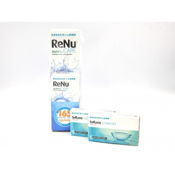 2 SOFLENS COMFORT 6PK + RENU MULTIPLUS CARE 360ml + 60ml